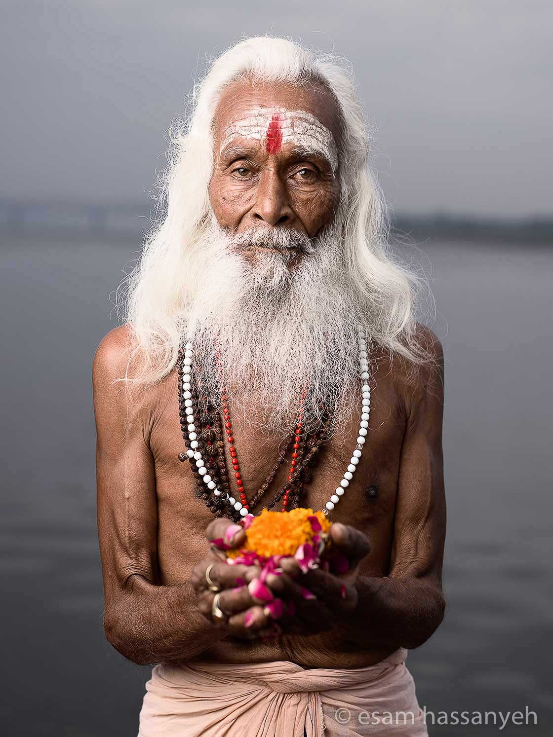 Portrait Of Baba Shiva River Ganges Varanasi India